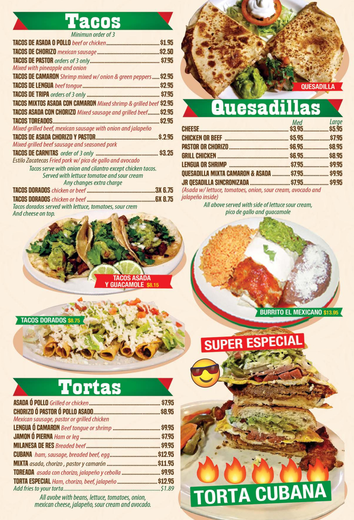 Menu Mi Antojo Mexican Restaurant